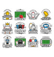 rugclub championship sport equipment icons vector image
