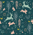 seamless pattern with reindeer hair bird and vector image vector image
