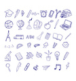 set hand drawn icons education back to school vector image