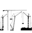 Set of black hoisting cranes isolated on white vector image