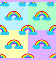 set of seamless patterns from a cartoon rainbow vector image