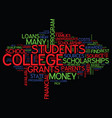 the best way to find college loans text vector image vector image
