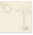 tropical palm tree and sun sketch vector image vector image