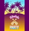 ukulele party with palm trees and sunset vector image vector image