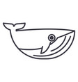 whale line icon sign on vector image vector image