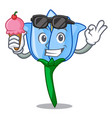with ice cream bell flower character cartoon vector image
