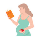 young pregnant woman is reading a book and eating vector image