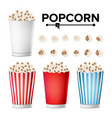 popcorn cup set realistic classic cup full vector image