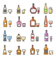 Alcohol bottles with glasses and stemware line vector image