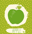 Apple hand drawn sketched fruit with leaf on blue vector image vector image