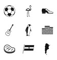 attractions of argentina icons set simple style vector image vector image