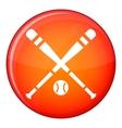 Baseball bat and ball icon flat style vector image vector image