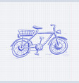 bike blue hand drawn sketch on lined paper vector image