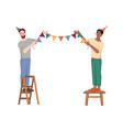 birthday decoration guys hanging flags on rope vector image vector image