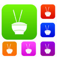 bowl of rice with chopsticks set color collection vector image vector image
