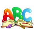 cartoon abc letters with open book vector image