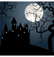 Castle and tree at night vector image vector image