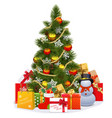 Christmas Tree with Snowman vector image vector image