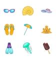 Coast icons set cartoon style vector image vector image