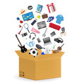 corrugated carton box with many shopping product vector image