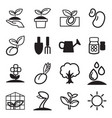 cultivate plant grow icons set vector image vector image