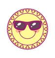 cute round sun template vector image