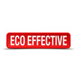 eco effective red 3d square button isolated on vector image vector image
