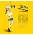 electric screwdriver mounting girl vector image vector image