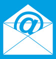 envelope with email sign icon white vector image