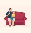 father and his son sitting on sofa vector image vector image