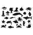 fish whale crab shark jellyfish sea animals vector image