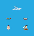 flat icon vessel set of vessel tanker cargo and vector image