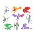 flat set of dragons and medieval knights vector image