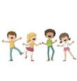 four happy children vector image