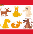 funny dogs or puppies cartoon characters set vector image vector image