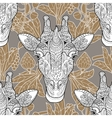 Giraffe head seamless pattern beige background vector image vector image