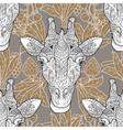 Giraffe head seamless pattern beige background vector image vector image