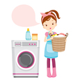 Girl With Washing Machine vector image