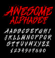 hand drawn alphabet dirty font vector image vector image