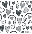 hand drawn seamless pattern hearts retro vector image vector image