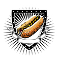 hot dog shield vector image vector image