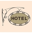 hotel text on vintage street sign vector image vector image