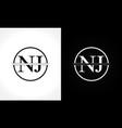 initial monogram letter nj logo design template vector image vector image