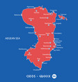 island of chios in greece red map vector image vector image