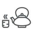 japanese tea line icon asian and drink kettle vector image