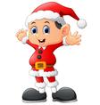 kid waving wearing santa costume vector image vector image