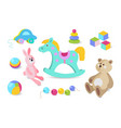 kids toys cartoon icons set vector image