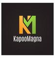 letter k and m logo on black background vector image
