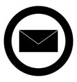 mail the black color icon in circle or round vector image