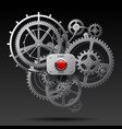 metallic gear wheels of clockwork with start and vector image vector image